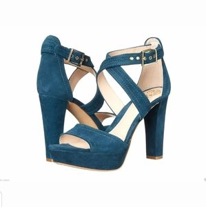 Vince Camuto Shayla Teal Green Suede Heeled Sandal